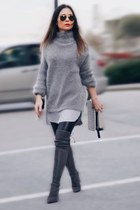 grey H&M sweater - stuart weitzman boots - leather Aritzia leggings