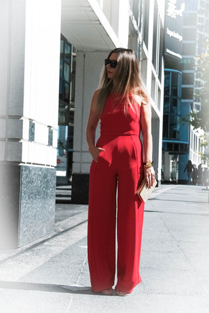 red Black Halo jumper - gold stuart weitzman heels - Celine glasses
