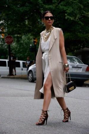 long waistcoat Zara coat - Zara blouse - sandals Steve Madden heels