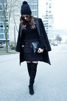 black hm coat - thigh high Zara boots - turtleneck Zara sweater