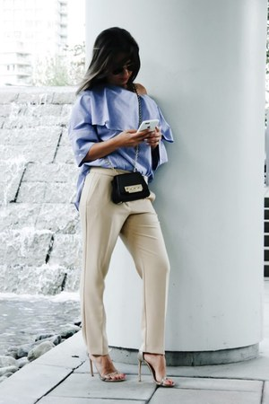 loeil top - nudist stuart weitzman sandals - trousers Zara pants