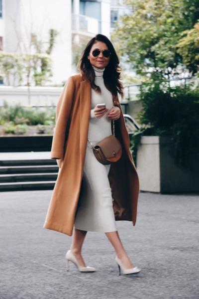 camel Topshop coat - ribbed Zara dress - crossbody Zara bag - shoes Zara heels