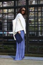 clutch Forever 21 bag - maxi blue dress Nordstrom dress - white Zara blazer