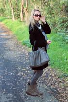 heather gray pittarello boots - black personal tailors workshop coat
