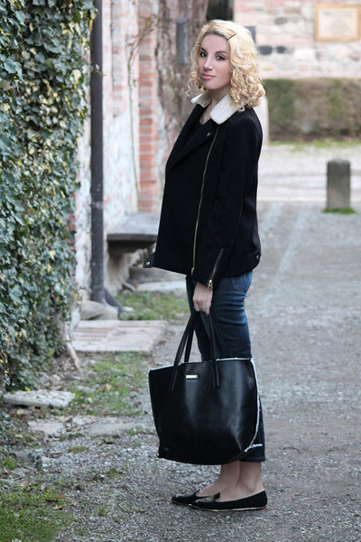 navy JQ jeans - black H&M jacket - black Mango bag - black pittarello loafers