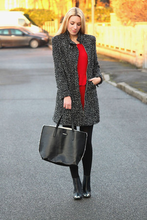 black H&M shoes - red Zara dress - black Rosso Di Sera coat