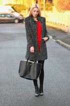 black H&M shoes - red Zara dress - black Rosso Di Sera coat