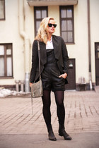 black leather 2nd Hand romper - Alexander Wang boots - white weekday shirt