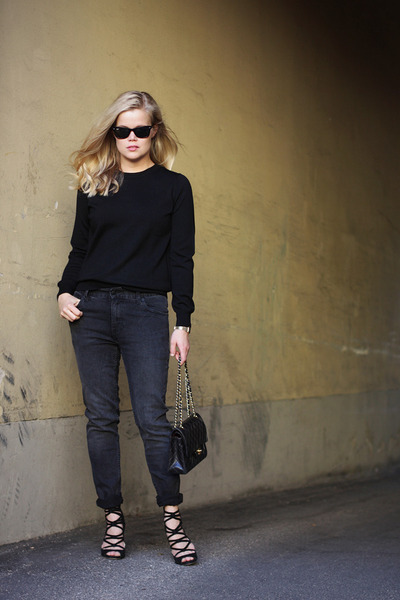 black COS sweater - dark gray weekday jeans - black Chanel bag