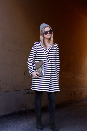 white asos coat - black Mango boots - American Apparel hat - Glitter bag