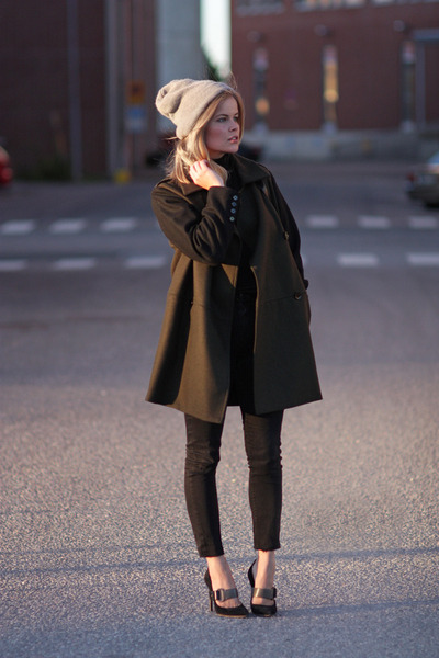 Mango coat - American Apparel hat - Reed Krakoff pumps