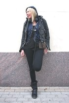 J Brand jeans - leather jacket Burberry jacket - Rick Owens leggings