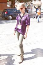 purple BCBG shirt - American Apparel glasses