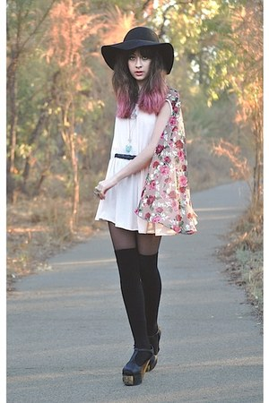 black jeffery campbells shoes - light pink romwe dress - black Sportsgirl hat