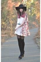 black jeffery campbells shoes - light pink romwe dress - black Sportsgirl hat