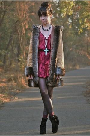 black flea market boots - ruby red thrifted dress - mustard evil twin jacket