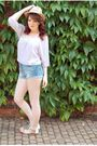 Purple-topshop-blouse-blue-river-island-shorts-white-miss-selfridge-shoes-