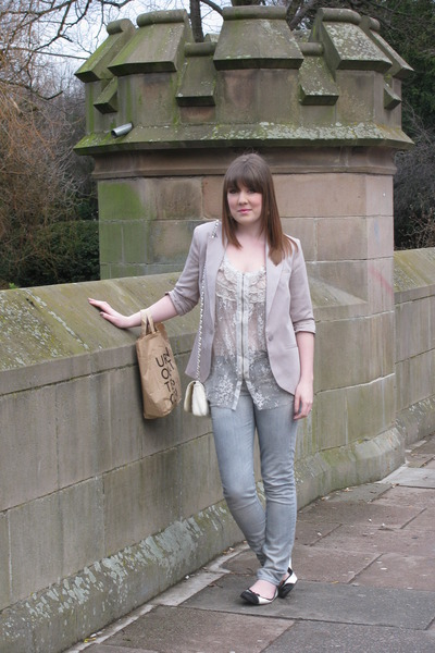 beige Topshop blazer - beige BCG top - silver asos jeans - Miss Selfridge shoes