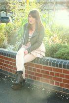gray new look jacket - white Topshop t-shirt - pink Topshop skirt - gray River I