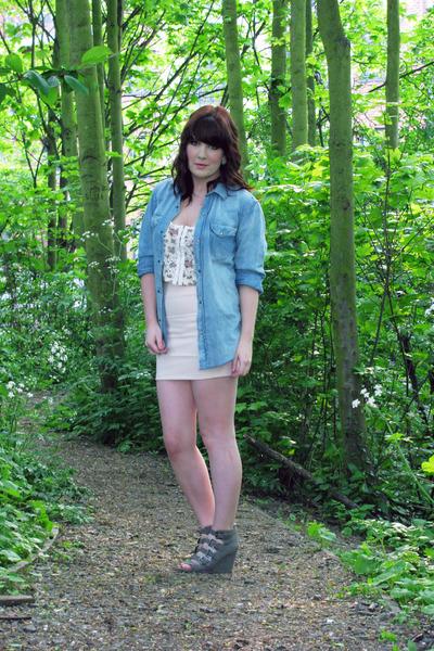 blue H&M shirt - beige Topshop skirt - white Topshop top - silver asos shoes