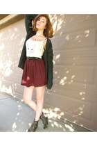 brick red chiffon American Apparel skirt - off white BDG top