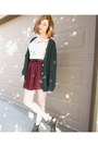 Off-white-bdg-top-brick-red-chiffon-american-apparel-skirt