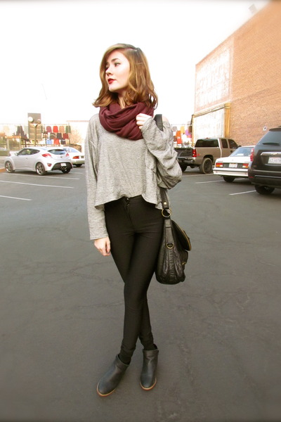 American Apparel shirt - maroon American Apparel scarf - black asos pants