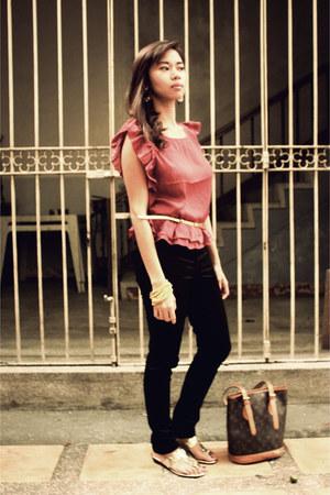 maroon Forever 21 blouse - black H&M pants