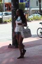 casual couture top - Joes Jeans shorts - Gucci sandals