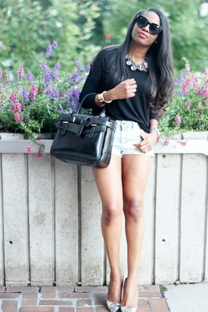 Zara top - Reed Krakoff bag - Topshop shorts - Celine sunglasses
