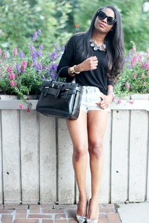 Zara top - Reed Krakoff bag - Topshop shorts - Celine sunglasses