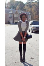 Topshop hat - JCrew sweater - Forever 21 skirt