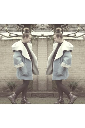light blue 100 wool joep coat - puce Dr Martens shoes - black Monki sweater