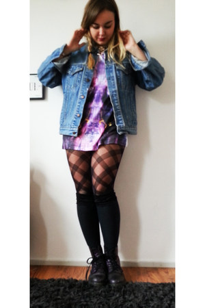 River Island jacket - deep purple Dr Martens boots - black H&M tights