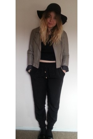 tan Only jacket - black Monki shoes - black hat - gray Urban Outfitters top