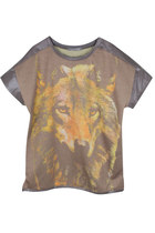 WOLF-ERING HEIGHT PU LEATHER COTTON T-SHIRT (LIMITED EDITION)