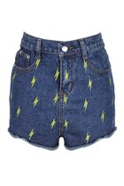 LIGHTNING EMBROIDERY DENIM SHORTS