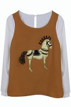 War Horse Applique Chiffon Blouse (Mustard)