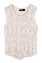 Lace of Stripes Cotton Top (Pink)