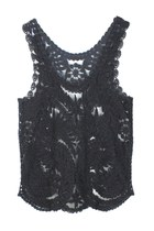 LEAVES OF MEMORY CROCHET LACE TOP (BLACK)