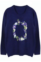 Floral Bouquet Embroidery Sweater (Navy)