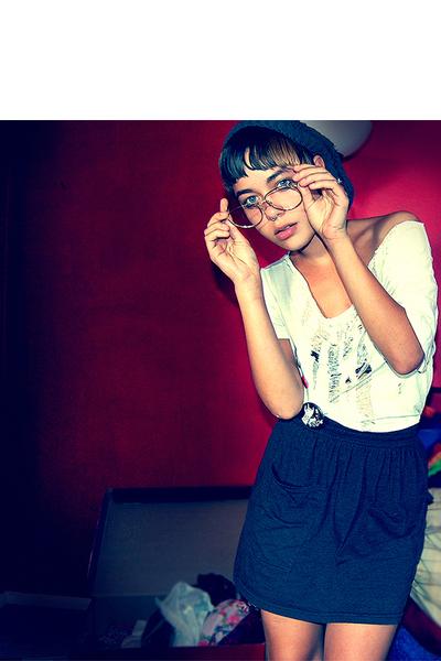 self-shredded tee shirt - AA high waisted pocket skirt skirt