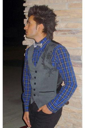 silver Mexx tie - gray Guess vest - black Zara jeans - blue Mexx shirt