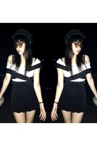 top - black hat - sunglasses - skirt