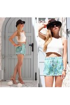 off white vintage blouse - turquoise blue Zara shorts