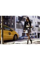 Alice Olivia boots - Forever 21 blazer - tory burch bag - Forever 21 skirt