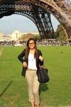 black longchamp bag - gold H&M necklace - black Zara shoes - black Claires glass