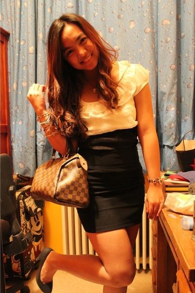 white Dorothy Perkins blouse - black Topshop skirt - black Pimkie shoes - tawny