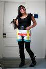 Black-love-on-a-hanger-shirt-h-m-belt-self-made-shorts-f21-leggings-boot