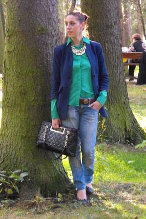 Bershka jeans - Sheinside shirt - milanoo bag - OASAP necklace